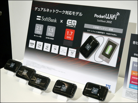Softbank 4GとEMOBILE LTEが使える「Pocket WiFi 203Z」、なんと月額3880円 ...