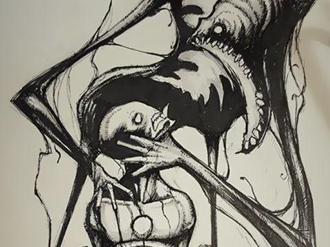 人々を襲う精神疾患の数々を身の毛もよだつモノトーンで表現したイラスト